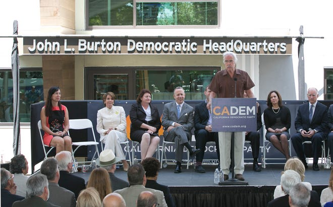 In this June 16, 2014, file photo. then-California Democratic Party Chairman John Burton speaks during the dedication of the John L. Burton California Democratic Party Headquarters in Sacramento, Calif.