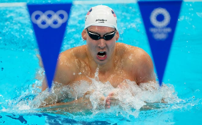 Chase Kalisz (USA) during the men's 400m individual medley heats during the Tokyo Olympics.
