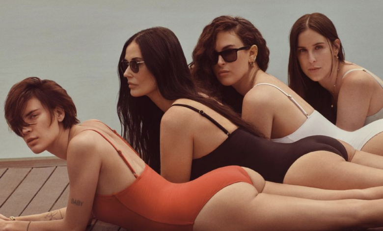 Demi Moore, 58, poses alongside 3 daughters for new swimsuit campaign