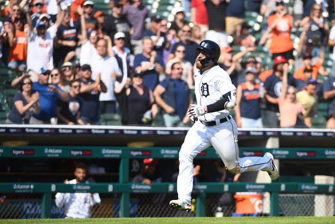 Detroit Tigers left fielder Eric Haase runs during his inside-the-park home run against the Chicago White Sox.