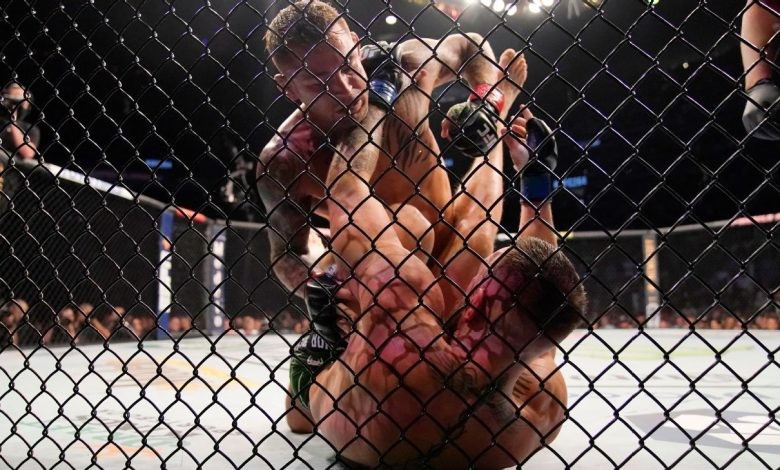 Dustin Poirier wins trilogy rematch by TKO after Conor McGregor injures leg in Round 1; Dana White anticipates a 4th fight