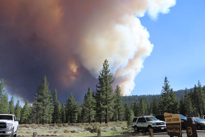 Smoke from the Tamarack Fire can be seen from the Markleeville Guard Station as the fire grew to over 6,000 acres by Saturday morning. Photo taken on July 17, 2021.