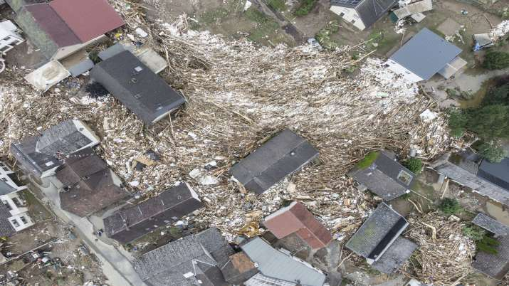 Debris between houses is seen close to the Ahr river in