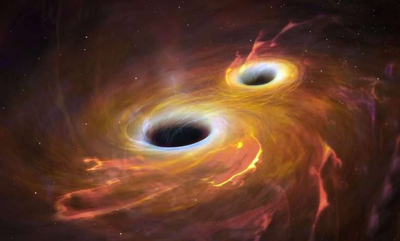 Two Black Holes Collide Merge