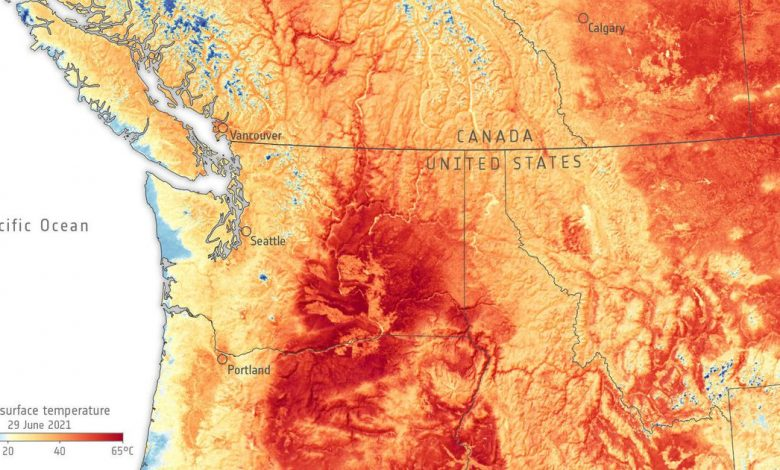 Heat wave in US and Canada summed up in one staggering satellite image