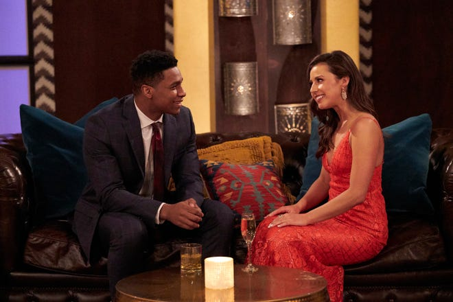 """In the first episode of Katie Thurston's run as """"Bachelorette,"""" she and Andrew S. chat during the cocktail party."""