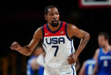 Team USA forward Kevin Durant reacts after scoring against Czech Republic during the Tokyo 2020 Olympic Summer Games at Saitama Super Arena.