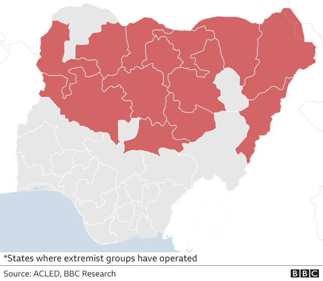 map showing areas worst hit by Boko Haram attacks
