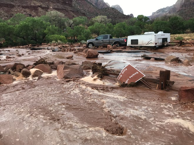 Zion National Park saw extensive flash flooding on Tuesday after thunderstorms dropped more than an inch of rain in one hour. Park officials closed the main roadway through the park and issued warnings asking visitors to avoid the area.