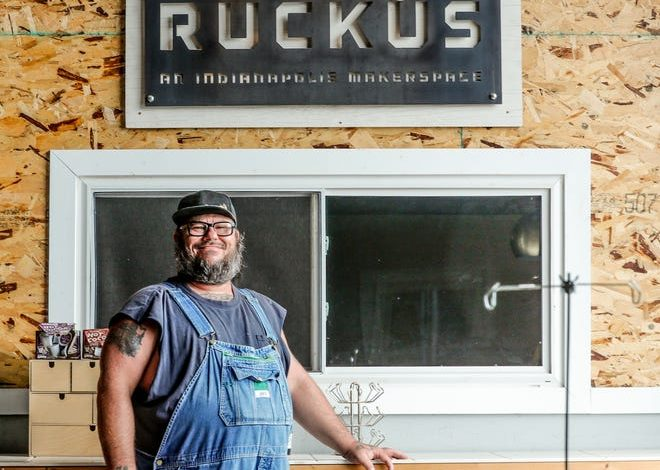 John Asher, a Riley Area Development Corporation manager, on Friday, July 9, 2021, at Ruckus Makerspace in Indianapolis.