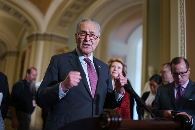 Senate Majority Leader Chuck Schumer, D-N.Y., speaks to reporters before meeting with Democratic members of the Texas Legislature who are trying to kill a Republican bill in Austin that would make it harder to vote in the Lone Star State, at the Capitol in Washington, Tuesday, July 13, 2021.