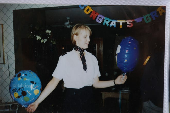 Jill Ziemkiewicz after graduating school to become a flight attendant. She died on TWA Flight 800 that crashed off the coast of Long Island on July 17, 1996.