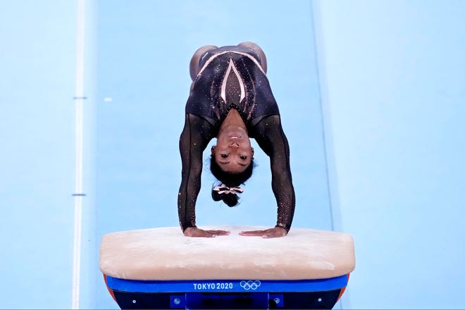 Simone Biles in action during a training session.