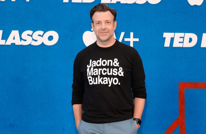 """Jason Sudeikis attends the """"Ted Lasso"""" Season 2 premiere at the Pacific Design Center in West Hollywood, California."""