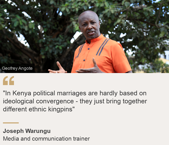 """""""""""In Kenya political marriages are hardly based on ideological convergence - they just bring together different ethnic kingpins"""""""", Source: Joseph Warungu, Source description: Media and communication trainer, Image: Joseph Warungu in front of Nairobi's famous fig tree"""