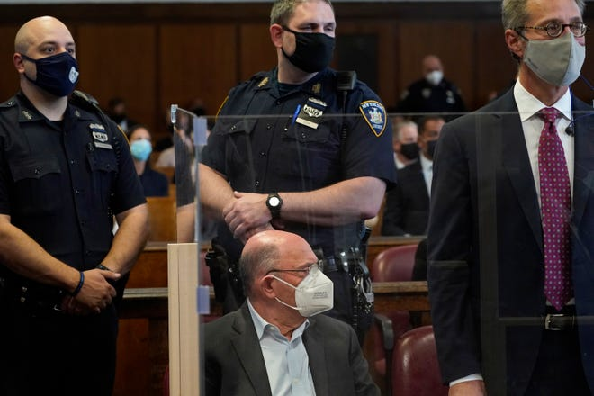 Trump Organization finance chief Allen Weisselberg appears in a New York court after turning himself in to authorities on July 01, 2021 in New York City.