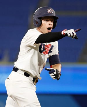 Team United States infielder Nicholas Allen celebrates after hitting a solo home run against Korea in group B play at the Tokyo Olympics at Yokohama Baseball Stadium.