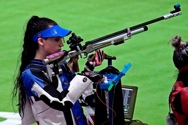 Mary Carolynn Tucker (USA) competes in 10m Air Rifle Women's Qualification during the Tokyo 2020 Olympic Summer Games at Asaka Shooting Range.