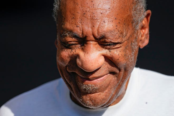 Bill Cosby reacts outside his home in suburban Philadelphia on June 30, 2021 after being released from prison.