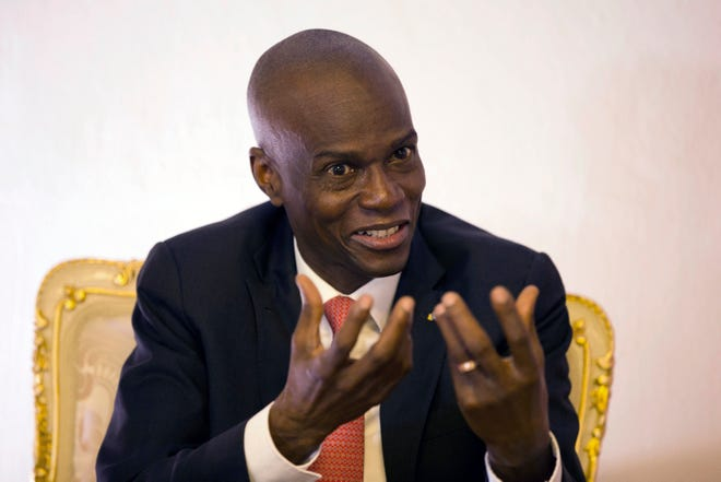 In this Aug. 28, 2019, file photo, Haiti's President Jovenel Moise speaks during an interview in his office in Port-au-Prince, Haiti. Moïse was assassinated after a group of unidentified people attacked his private residence, the country's interim prime minister said in a statement Wednesday, July 7, 2021. Moïse's wife, First Lady Martine Moïse, is hospitalized, interim Premier Claude Joseph said.