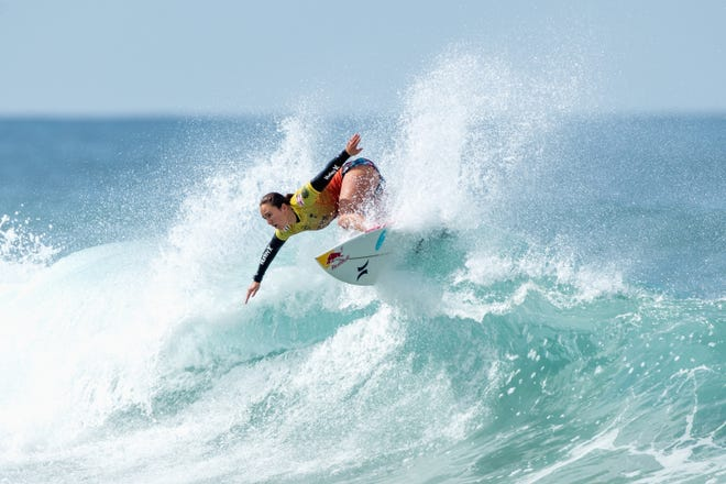 Carissa Moore of the United States competes in the semifinals of the Rip Curl Narrabeen Classic against Tatiana Weston-Webb of Brazil at Narrabeen Beach on April 20 in Sydney, Australia.