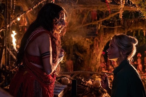 """Veronica Falcón as Trader Sam in """"Jungle Cruise,"""" alongside Emily Blunt as Lily Houghton."""