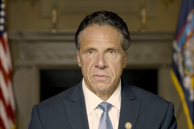 In this image taken video provided by Office of the NY Governor, New York Gov. Andrew Cuomo makes a statement on a pre-recorded video released, Tuesday, Aug. 3, 2021, in New York. An investigation into New York Gov. Andrew Cuomo has found that he sexually harassed multiple current and former state government employees. State Attorney General Letitia James announced the findings Tuesday.