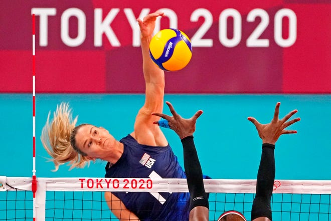 U.S. opposite Andrea Drews spikes the ball during a quarterfinal match at the Tokyo Olympics.