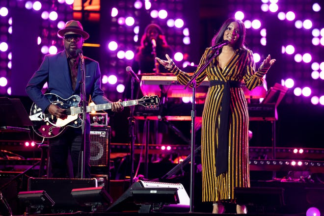 Mickey Guyton performs during the CMT Giants: Charlie Pride show at Ascend Amphitheater in Nashville, Tenn., Thursday, April 8, 2021.