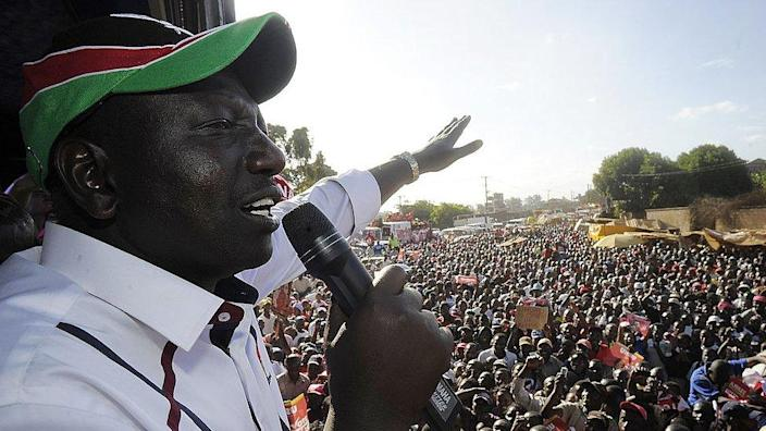 William Ruto addressing a campaign rally