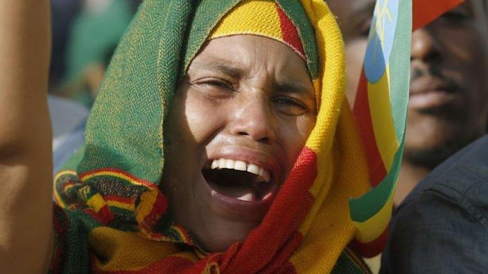 Ethiopians gather at Meskel square, a central road , in Addis Ababa to condemn the Tigray People's Liberation Front fighting for a comeback after it was deposed in 2018 through three years of antigovernment protests in Addis Ababa, Ethiopia on August 8, 2021