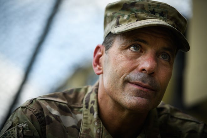 Maj. Gen. Christopher Donahue, 82nd Airborne Division commanding general, talks to a reporter during an exercise on Fort Bragg in 2020. Donahue is headedtoAfghanistanas U.S. military leaders talk with the Taliban.