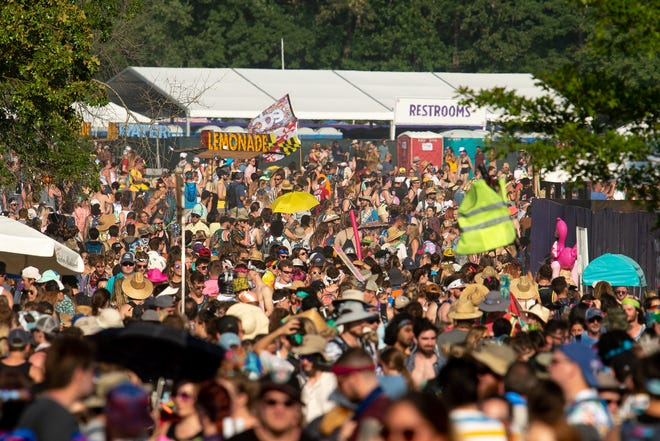 Fans pack the festival grounds at the Bonnaroo Music and Arts Festival in Manchester, Tenn., Saturday, June 15, 2019.