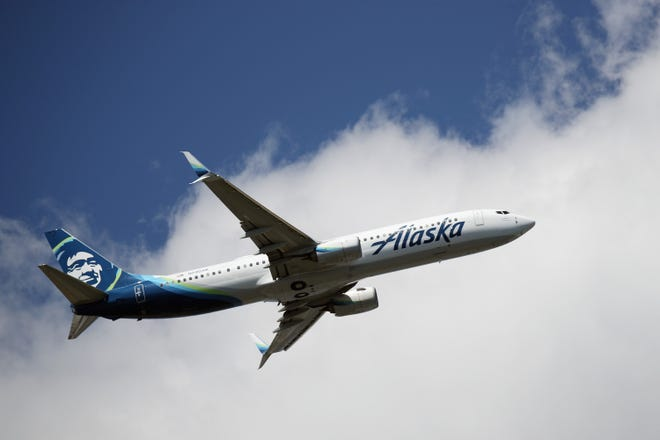 A Boeing 737-990ER operated by Alaska Airlines takes off from New York's JFK Airport on August 24, 2019.