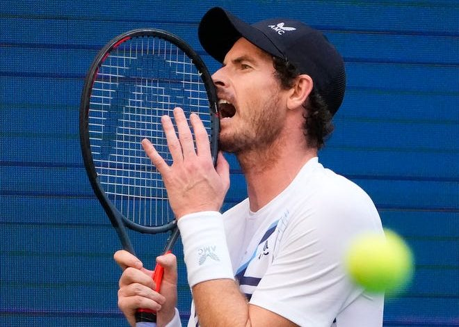 Andy Murray reacts during his first-round match against No. 3 seed Stefanos Tsitsipas at the US Open.