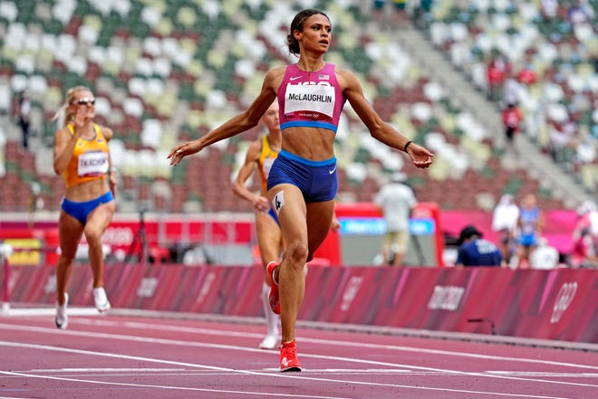 Sydney McLaughlin (USA) wins the gold medal during the Tokyo 2020 Olympic Summer Games at Olympic Stadium.