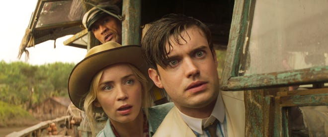 """(L-R): Dwayne Johnson as Frank Wolff, Emily Blunt as Lily Houghton and Jack Whitehall as MacGregor Houghton in """"Jungle Cruise."""""""