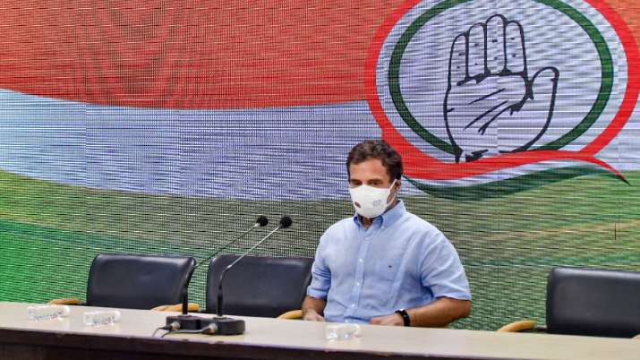 Congress leaders Rahul Gandhi during a press conference in