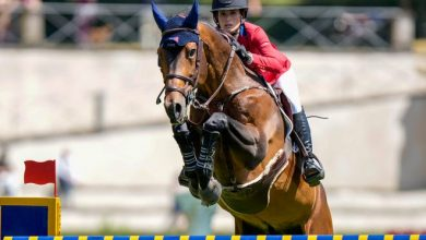 Jessica Springsteen and Don Juan Van de Donkhoeve compete during Nations Cup.
