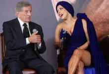 """Tony Bennett, left, and Lady Gaga at a press conference for """"Cheek to Cheek"""" in 2014."""