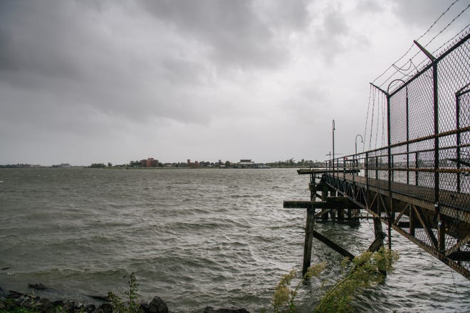 The Mississippi River is seen ahead of Hurricane Ida on Aug. 29, 2021 in New Orleans.