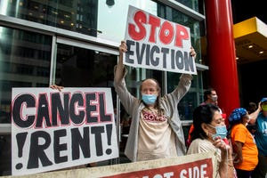 Housing advocates protest outside New York Gov. Andrew Cuomo's office on Aug. 4.