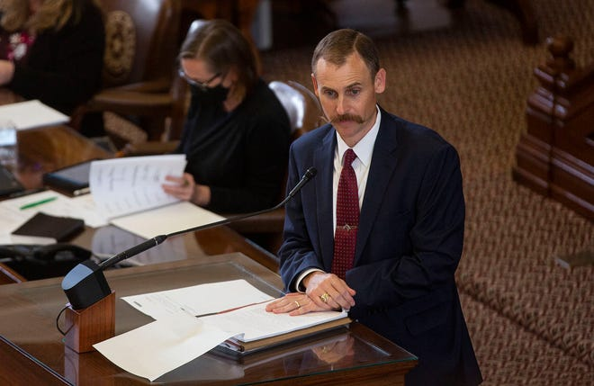 Rep. Andrew Murr, R-Junction, speaks in favor of the GOP voting and elections bill as the Texas House debates at the Capitol on Thursday, August 26, 2021.