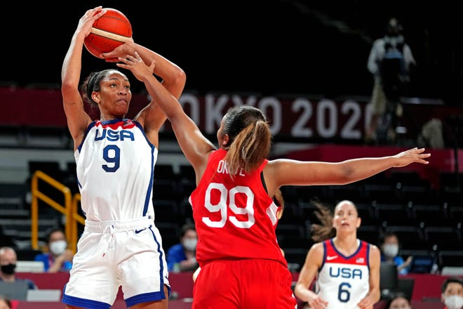 U.S. forward A'Ja Wilson (9) shoots the ball against Japan forward Monica Okoye during a pool-play game at the Tokyo Olympics on July 30.