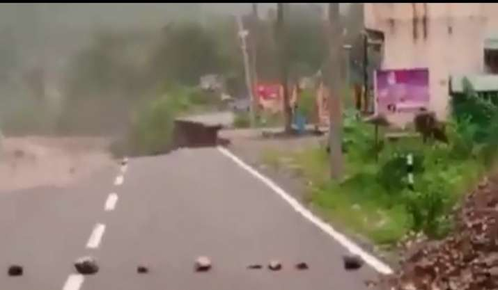 Uttarakhand: Road caves in, merges with river due to