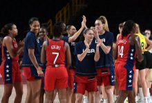 Team USA players celebrate their win over Australia in the women's basketball quarterfinals at the Saitama Super Arena.