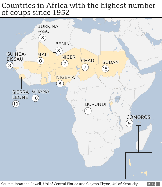 Map of Africa with coups by country (May 2021)