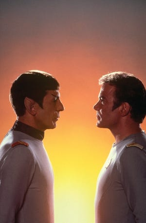 Leonard Nimoy (Mr. Spock) and William Shatner (Kirk) had a long friendship that survived the original series. Nimoy died in 2015.