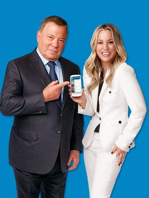 William Shatner and Kaley Cuoco in their famed Priceline ad.