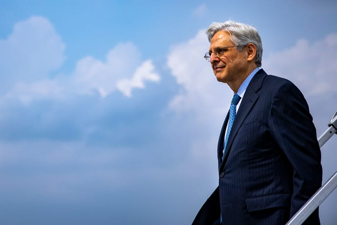 Attorney General Merrick Garland arrives at Midway International Airport in Chicago, Thursday, July 22, 2021.